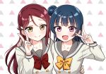 2girls :d arm_around_waist bangs blue_hair bow bowtie collarbone deadnooodles double-breasted eyebrows_visible_through_hair fang hair_ornament hairclip hand_on_another's_shoulder long_hair long_sleeves looking_at_viewer love_live! love_live!_sunshine!! multiple_girls open_mouth patterned_background red_neckwear redhead sakurauchi_riko school_uniform serafuku smile tsushima_yoshiko upper_body uranohoshi_school_uniform v violet_eyes yellow_eyes yellow_neckwear