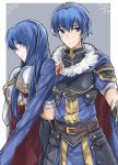 1boy 1girl aiueo1234853 armor blue_eyes blue_hair blush cape elbow_gloves fingerless_gloves fire_emblem fire_emblem:_monshou_no_nazo fire_emblem_heroes gloves highres long_hair looking_at_viewer marth pegasus_knight sheeda simple_background smile thigh-highs