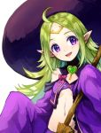 1girl bow broom circlet fire_emblem fire_emblem:_kakusei fire_emblem_heroes green_hair halloween_costume hat heart holding holding_broom jurge long_hair long_sleeves mamkute midriff navel nono_(fire_emblem) open_mouth pink_bow pointy_ears simple_background sleeves_past_fingers sleeves_past_wrists solo violet_eyes white_background witch_hat