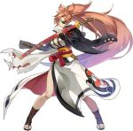 arc_system_works artist_request baiken black_jacket breasts brown_eyes epic7 eyepatch facial_mark guilty_gear guilty_gear_xrd jacket official_art open_toe_shoes pink_hair ponytail samurai sword torn_clothes weapon