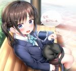1girl :d absurdres animal bench black_cat black_legwear blazer blue_eyes blue_jacket blue_neckwear bow bowtie brown_hair brown_skirt cat collared_shirt day diagonal-striped_neckwear diagonal_stripes highres jacket kneehighs long_hair long_sleeves looking_at_viewer nedia_(nedia_region) on_bench on_lap open_mouth original outdoors park_bench pleated_skirt pointing shirt side_ponytail sidelocks sitting sitting_on_bench skirt sleeves_past_wrists smile solo striped striped_neckwear translated white_shirt
