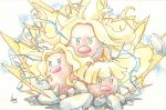 alolan_dugtrio aura blonde_hair creatures_(company) game_freak gen_7_pokemon highres inori_(pokemoart) nintendo no_humans pokemon pokemon_(creature) pokemon_(game) pokemon_sm regional_variant
