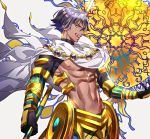 1boy :d abs black_gloves black_hair cape commentary_request earrings fate/prototype fate_(series) gauntlets glint gloves greaves green_eyes hair_between_eyes highres holding jewelry looking_at_viewer male_focus navel open_mouth ozymandias_(fate) shirtless short_sleeves smile solo tenobe turtleneck white_cape