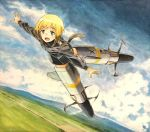 1girl blonde_hair blue_eyes blush clouds cloudy_sky dutch_angle erica_hartmann flying horizon looking_at_viewer marker_(medium) military military_uniform multicolored_hair open_mouth outstretched_arms shiratama_(hockey) short_hair sky smile solo strike_witches striker_unit tail traditional_media uniform world_witches_series