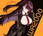 1girl between_breasts black_gloves black_jacket blush breasts character_name cowboy_shot dutch_angle eyebrows_visible_through_hair girls_frontline gloves hair_ribbon highres jacket large_breasts long_hair looking_at_viewer necktie necktie_between_breasts pantyhose purple_hair red_eyes red_neckwear ribbon shirt side_ponytail simple_background solo standing striped striped_shirt vertical-striped_shirt vertical_stripes wa2000_(girls_frontline) zerogura