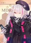 1girl aaoshigatoutoi absurdres beret black_jacket cellphone flip_phone girls_frontline gloves grin hat highres index_finger_raised jacket long_hair looking_at_viewer mdr_(girls_frontline) multicolored_hair one_eye_closed one_side_up phone pink_eyes pink_hair smile solo streaked_hair upper_body white_hair