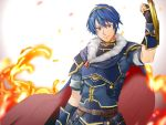 1boy armor blue_eyes blue_hair cape falchion_(fire_emblem) fire fire_emblem fire_emblem:_monshou_no_nazo fire_emblem_heroes gloves looking_at_viewer male_focus marth nintendo short_hair simple_background smile solo tiara weapon white_background yuu_(ranranran1028)
