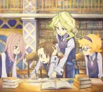 4girls blonde_hair book bookmark bookshelf brown_hair chair diana_cavendish freckles green_eyes hairband hand_on_own_head indoors kagari_atsuko library little_witch_academia long_hair lotte_jansson marker_(medium) multiple_girls neck_ribbon open_mouth pen pink_eyes pink_hair pointing ribbon school_uniform semi-rimless_eyewear shiratama_(hockey) short_hair short_ponytail sitting smile studying sucy_manbavaran sweatdrop table traditional_media under-rim_eyewear uniform_vest wand