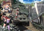 4girls :3 apocalypse bandaid bandaid_on_face battleship black_hair blonde_hair brown_hair btr-80 building commentary_request fang gloves grenade_launcher ground_vehicle gun hair_ribbon hase_yu headband heterochromia knee_pads kneehighs load_bearing_vest mgl-140 military military_vehicle motor_vehicle multiple_girls original pleated_skirt ponytail redhead ribbon rifle rubbing ruins school_uniform scope ship shotgun skirt sky sniper_rifle tank thigh-highs traffic_light twintails vertical_foregrip warship water watercraft waterfall weapon weapon_request zettai_ryouiki