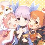 3girls akane_mimi braid closed_eyes closed_mouth cygames earmuffs hikawa_kyoka hodaka_misogi hug multiple_girls official_art one_eye_closed open_mouth orange_eyes orange_hair pink_hair princess_connect! princess_connect!_re:dive purple_hair