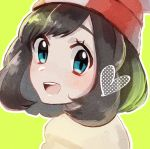 1girl bangs beanie black_hair blue_eyes blush creatures_(company) eyebrows game_freak happy hat heart highres looking_at_viewer mizuki_(pokemon) mu_acrt nintendo open_mouth pokemon pokemon_(game) pokemon_sm red_hat short_hair simple_background smile solo yellow_background