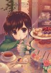 1girl biscuit black_tea blush braid brown_hair checkerboard_cookie cherry cookie cup floral_print flower food fruit highres juliet_sleeves long_sleeves original plant plate puffy_sleeves sandwich santa_matsuri saucer smile solo sugar_bowl sugar_cube sugar_tongs tea teacup teapot tiered_tray tongs vines
