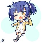 1girl ;d artist_name black_legwear blue_hair chibi commentary_request eyebrows_visible_through_hair fang gochuumon_wa_usagi_desu_ka? hair_ornament hair_scrunchie hand_up hood hooded_jacket jacket jouga_maya lying on_side one_eye_closed open_mouth scrunchie short_hair simple_background smile solo v white_background white_scrunchie win_opz yellow_eyes