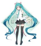 1girl absurdly_long_hair ahoge aqua_hair arms_behind_back black_legwear bouquet character_name elbow_gloves flower full_body gloves green_eyes hair_between_eyes happy_birthday hatsune_miku headset highres long_hair necktie pigeon-toed skirt solo thigh-highs twintails very_long_hair vocaloid white_background zazuzu