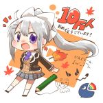 1girl blazer bow cardigan_vest chibi congratulations earrings fire hair_bow hair_ornament hairclip higuchi_kaede jacket jewelry leaf maple_leaf mole mole_under_eye necktie nijisanji open_mouth pencil pleated_skirt ponytail rainbow rebecca_(keinelove) school_uniform silver_hair skirt smile socks violet_eyes virtual_youtuber