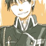1boy ^_^ amestris_military_uniform black_hair close-up closed_eyes closed_eyes fullmetal_alchemist happy lowres male_focus mattsu military military_uniform orange_background roy_mustang short_hair simple_background smile two-tone_background uniform upper_body white_background