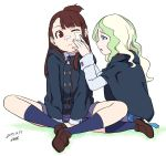 2girls bandaid_on_cheek black_jacket blue_eyes blue_legwear brown_hair brown_shorts commentary_request dated diana_cavendish green_hair indian_style jacket kagari_atsuko little_witch_academia loafers long_hair long_sleeves multiple_girls one_eye_closed parted_lips purple_skirt red_eyes shoes shorts signature simple_background sitting skirt socks topknot tsukudani_(coke-buta) white_background