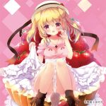 1girl :d animal_ears bangs bare_shoulders blonde_hair blush boots brown_footwear commentary_request dog_ears dog_girl dog_tail eyebrows_visible_through_hair food frilled_skirt frills fruit hair_between_eyes hat holding holding_food in_food leaning_to_the_side long_hair looking_at_viewer natsuki_yuu_(amemizu) off-shoulder_sweater open_mouth original pink_sweater red_eyes sitting skirt smile solo strawberry sweater tail two_side_up white_hat white_skirt