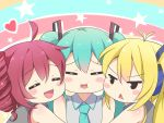 3girls :d :t =_= agung_syaeful_anwar ahoge blonde_hair blue_hair blue_neckwear blush character_request chibi closed_eyes collared_shirt commentary_request facing_viewer frown grey_shirt hatsune_miku heart multiple_girls necktie open_mouth outline redhead shirt smile star triangle_mouth vocaloid white_outline wing_collar