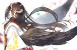 1girl :o albedo bangs blurry blurry_background brown_eyes brown_hair brown_wings commentary_request curled_horns depth_of_field eyebrows_visible_through_hair eyes_visible_through_hair feathered_wings grey_background hair_between_eyes horns japanese_clothes kimono long_hair long_sleeves looking_at_viewer looking_to_the_side mitu_yang off_shoulder overlord_(maruyama) parted_lips simple_background solo very_long_hair white_kimono wide_sleeves wings