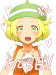 1girl bel_(pokemon) blonde_hair clenched_hands commentary_request creatures_(company) game_freak green_hat hands_up hat jacket looking_at_viewer medium_hair nintendo orange_jacket pokemon pokemon_(game) pokemon_bw short_hair smile solo