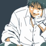 1boy black_eyes black_hair blue_background close-up elbows_on_knees fullmetal_alchemist gloves hand_on_own_chin looking_away lowres male_focus mattsu roy_mustang shaded_face shirt short_hair simple_background sitting smile upper_body white_gloves white_shirt