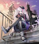 1girl beret black_jacket cable canata_katana casing_ejection clouds cloudy_sky evening eyebrows_visible_through_hair girls_frontline gloves gun hat heterochromia highres jacket legs_crossed long_hair mdr_(girls_frontline) pantyhose railing shell_casing shoes side_ponytail silver_hair sitting skirt sky smile sneakers weapon