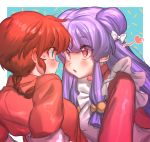 2girls bangs blue_eyes blush bow braid commentary_request face-to-face genderswap genderswap_(mtf) hair_bobbles hair_bow hair_ornament heart highres long_hair looking_at_another masanaga_(tsukasa) multiple_girls open_mouth pink_eyes purple_hair ranma-chan ranma_1/2 redhead shampoo_(ranma_1/2) single_braid upper_body white_bow yuri