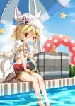 1girl absurdres belt blonde_hair commentary_request container eating flower food fruit girls_frontline hair_flower hair_ornament hat highres innertube looking_at_viewer matsuo_(matuonoie) military_jacket nagant_revolver_(girls_frontline) parasol pool popsicle red_eyes remodel_(girls_frontline) shorts sky solo star swimsuit umbrella watermelon
