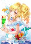 1girl :d aikatsu!_(series) aikatsu_stars! animal bangs bare_shoulders bendy_straw blonde_hair blouse blush cherry clownfish collarbone commentary_request cup drink drinking_glass drinking_straw eyebrows_visible_through_hair fingernails fish floral_print food fruit hair_between_eyes head_tilt highres holding holding_cup ice_cream ice_cream_float long_hair looking_at_viewer looking_to_the_side nail_polish nijino_yume off-shoulder_blouse off_shoulder open_mouth print_blouse puracotte purple_nails purple_skirt red_eyes signature skirt smile solo twintails white_blouse