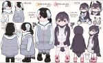 2girls adapted_costume alternate_hairstyle black_hair blush boots closed_eyes color_guide commentary_request drawstring emperor_penguin emperor_penguin_(kemono_friends) eyebrows_visible_through_hair from_behind from_side hair_over_one_eye hand_on_another's_head headphones hood hood_down hoodie japari_symbol kemono_friends long_sleeves multiple_girls multiple_views oversized_clothes pantyhose penguin_tail pink_hair royal_penguin_(kemono_friends) seto_(harunadragon) short_hair sitting sleeping tail thigh-highs translation_request turtleneck twintails violet_eyes wariza wavy_mouth white_hair younger zettai_ryouiki