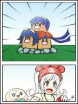 1girl bandanna blue_hair comic cosplay creatures_(company) crossover dugtrio fire_emblem game_freak gen_1_pokemon gen_7_pokemon hat highres lucina lucina_(cosplay) marth marth_(cosplay) mizuki_(pokemon) mizuki_(pokemon)_(cosplay) nintendo poke_ball pokemon pokemon_(creature) pokemon_(game) pokemon_sm raydango redhead robin rowlet roy_(fire_emblem) roy_(fire_emblem)_(cosplay) tiara twintails white_hair