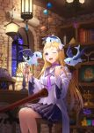 1girl absurdres animal animal_on_head astrolabe balance_scale blonde_hair blurry book bookshelf candy choker collarbone commentary crystal curtains depth_of_field dragon fantasy feeding food gears happy highres hoshiiruka_(irugon) indoors jar lamp lantern long_hair night on_head one_eye_closed open_mouth original planet pleated_skirt pyramid sack school_uniform sitting skirt sky smile star_(sky) starry_sky stool telescope violet_eyes weighing_scale window