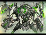 blurry blurry_background cable gia glowing gun mecha no_humans original robot science_fiction sword weapon