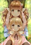 2girls :3 arms_up blonde_hair blush bracelet brown_eyes cardigan commentary eyebrows_visible_through_hair flower futaba_anzu hair_ornament highres holding_another's_hair idolmaster idolmaster_cinderella_girls jewelry long_hair long_sleeves moroboshi_kirari multiple_girls outdoors ribbon sakamuke sitting smile star star_hair_ornament tree twintails upper_body