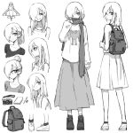 1girl alternate_hairstyle backpack bag camera commentary_request glasses greyscale hair_bun hair_over_one_eye highres long_hair long_sleeves monochrome multiple_views notepad one_eye_covered oopartz_yang original over-rim_eyewear ponytail scarf semi-rimless_eyewear simple_background skirt standard_bearer standing sweater uma_(oopartz_yang) white_background