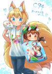 2girls :3 :o alternate_costume animal_ear_fluff animal_ears bag blonde_hair blue_eyes brown_hair cat_ears cat_tail chen commentary_request fan fox_ears fox_tail handbag hat highres ibaraki_natou multiple_girls multiple_tails orange_eyes pants paper_fan shirt short_hair short_sleeves smile sukusuku_hakutaku tail touhou towel uchiwa yakumo_ran yakumo_yukari
