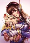 1girl banana bodysuit breasts brown_eyes brown_hair d.va_(overwatch) facepaint food fruit gloves hammond_(overwatch) headphones heart heart-shaped_pupils kachima medium_breasts one_eye_closed overwatch purple_bodysuit ribbed_bodysuit smile solo symbol-shaped_pupils watermark web_address whisker_markings whiskers white_gloves