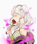 1girl artist_name aura dark_aura female_my_unit_(fire_emblem:_kakusei) fire_emblem fire_emblem:_kakusei fire_emblem_heroes flower from_side gimurei highres holding holding_flower my_unit_(fire_emblem:_kakusei) nintendo petals red_eyes sasaki_(dkenpisss) simple_background solo twintails white_background white_hair
