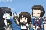 3girls :> :d bag black_hair blue_eyes blue_sky brown_hair cannon closed_eyes clouds commentary_request dated day double_bun gauntlets gloves glowing glowing_eyes groceries grocery_bag hair_ornament hamu_koutarou kantai_collection light_cruiser_oni machinery miyuki_(kantai_collection) multiple_girls myoukou_(kantai_collection) ocean open_mouth pale_skin school_uniform serafuku shinkaisei-kan shopping_bag short_hair sky smile v_arms white_gloves