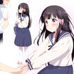 1boy 1girl bag bangs black_hair black_ribbon blue_sailor_collar blue_skirt blush bow commentary_request eyebrows_visible_through_hair flying_sweatdrops hair_bow hand_up heart holding_hand long_sleeves looking_at_another looking_up medium_skirt mikan-ya multiple_views neck_ribbon original out_of_frame pink_bow ribbon sailor_collar school_bag school_uniform serafuku shirt shoulder_bag skirt smile v_arms violet_eyes white_legwear white_shirt