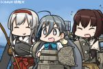 +_+ 3girls :d ahoge blue_sky blush bow bow_(weapon) bowtie closed_eyes commentary_request dated day flying_sweatdrops grey_hair hair_between_eyes hairband hamu_koutarou ise_(kantai_collection) japanese_clothes kantai_collection kiyoshimo_(kantai_collection) long_hair low_twintails multiple_girls muneate ocean open_mouth ribbon-trimmed_sleeves ribbon_trim shoukaku_(kantai_collection) sky smile sparkling_eyes sweat sword twintails undershirt weapon white_hair
