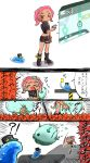 !? >_< 1girl agent_8 anger_vein asymmetrical_clothes black_hat blush comic commentary_request conductor_namako dark_skin enutsuu gameplay_mechanics hat highres holding holding_whistle ink midriff nintendo octarian octoling open_mouth sea_cucumber splatoon splatoon_2 splatoon_2:_octo_expansion squidbeak_splatoon tearing_up tentacle_hair throwing translation_request trembling whistle yellow_eyes