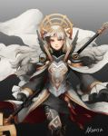 1girl armor artist_name black_armor black_gloves cape closed_mouth crown fire_emblem fire_emblem_heroes gloves grey_background grey_hair hair_ornament highres holding holding_staff kkonisa long_hair long_sleeves nintendo red_eyes shoulder_armor simple_background solo staff veronica_(fire_emblem)