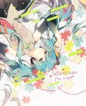 1girl arm_up bare_shoulders black_skirt blue_eyes blue_hair blue_neckwear character_name closed_mouth collared_shirt commentary_request detached_sleeves flower from_above grey_shirt hair_flower hair_ornament hairclip half-closed_eyes happy_birthday hatsune_miku head_tilt headphones heart heart_of_string highres jigsaw_puzzle long_hair long_sleeves lying multicolored multicolored_nails nail_polish necktie omutatsu on_back pleated_skirt puzzle red_flower red_rose rose rose_hair_ornament sheet_music shirt skirt smile solo twintails upper_body very_long_hair vocaloid x_hair_ornament yellow_flower yellow_rose