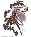 1girl ammunition_belt belt blue_eyes breasts cinderella_(sinoalice) cross-laced_clothes dark_skin full_body gun hair_over_one_eye holster ji_no large_breasts long_hair looking_at_viewer navel official_art purple_hair ribbon serious shiny shiny_skin sinoalice smoke solo weapon white_background