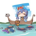 2girls animal bangs bitchcraft123 blue_hair blush boat can canned_food chibi closed_eyes eyebrows_visible_through_hair fan fish food fukae_(kantai_collection) goat gotland_(kantai_collection) gradient_hair hair_between_eyes hat horns kantai_collection long_hair mole mole_under_eye multicolored_hair multiple_girls partially_submerged sailor_hat sheep short_hair smile surstromming viking water watercraft