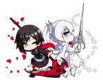 2girls black_hair blue_eyes cape chibi crescent_rose dress frilled_dress frills gradient_hair grey_eyes holding holding_weapon kaname_nagi multicolored_hair multiple_girls myrtenaster petals rose_petals ruby_rose rwby scythe side_ponytail snowflakes weapon weiss_schnee white_background white_hair