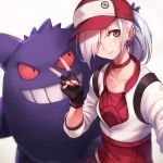 1girl backpack bag baseball_cap black_gloves choker closed_mouth creatures_(company) cropped_jacket female_protagonist_(pokemon_go) fingerless_gloves game_freak gen_1_pokemon gengar gloves grey_eyes grin hair_over_one_eye hat long_hair looking_at_another looking_at_viewer looking_to_the_side nintendo oopartz_yang original pokemon pokemon_(creature) pokemon_go ponytail red_sclera sleeves_past_elbows smile uma_(oopartz_yang) v white_hair