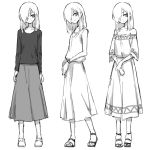 1girl bare_shoulders blouse commentary_request greyscale hair_over_one_eye highres long_hair long_sleeves monochrome multiple_views one_eye_covered oopartz_yang original sandals shirt shoes simple_background skirt smile standard_bearer standing uma_(oopartz_yang) white_background